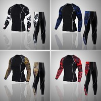 Mens warm sports suit Long Sleeves T Shirt Men Bodybuilding Skin Tight Thermal Compression Shirts MMA Crossfit Workout Top Gear