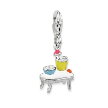 Sterling Silver Enameled Table and Bowls w/Lobster Clasp Charm QCC1002