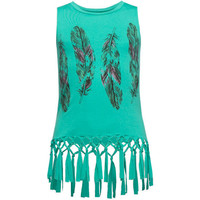 Full Tilt Feather Knot Fringe Girls Tank Green  In Sizes