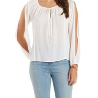 Ivory Tie-Neck Cold Shoulder Peasant Top by Charlotte Russe