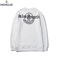 Moncler 2019 new colorful reflective printing round neck long-sleeved sweater white