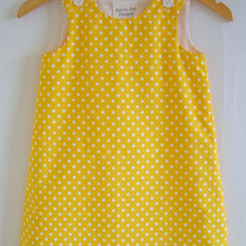 Girls dress, Polkadot, Spots, Yellow, White, Kids clothing, a-line, pinafore, tunic, 100% cotton, girl, baby, toddler, size 6m to 8 years