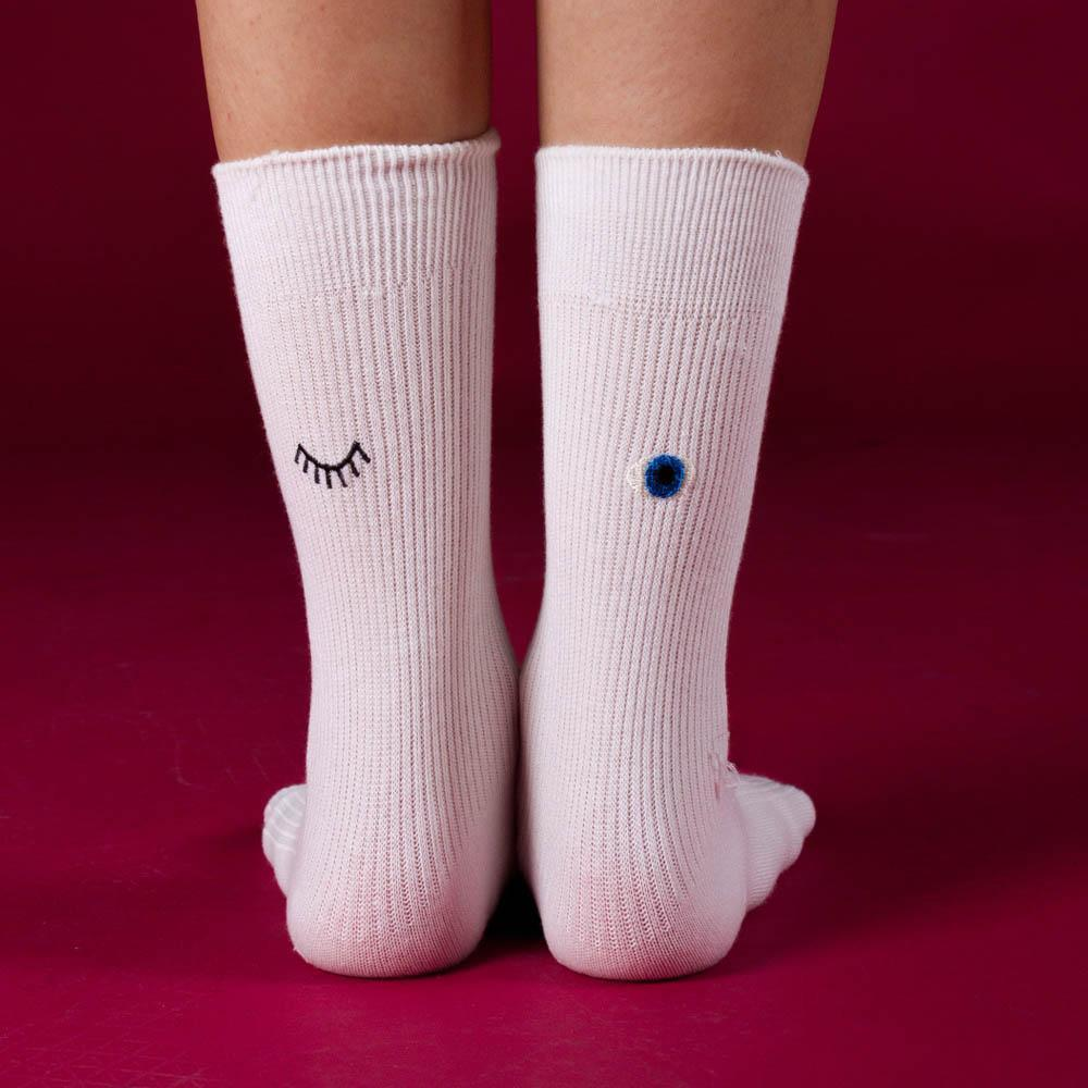 Image of Wink Embroidered Sock