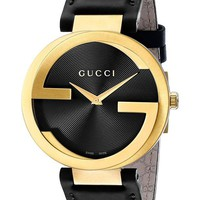 Gucci Personality Cool Woman Men Swiss Quartz Watch Leather Black Business Watches Wrist Watch I
