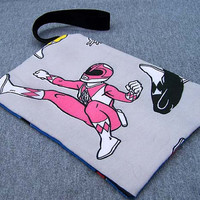 Pink Power Ranger Clutch Vintage Fabric Mighty Morphin Bag Purse