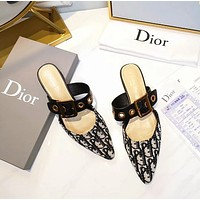 DIOR Pointed patent leather net knitted bread head slippers-3