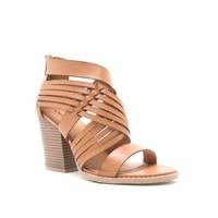 Woven Leather Stacked Bootie (BARNES-78A Cognac)