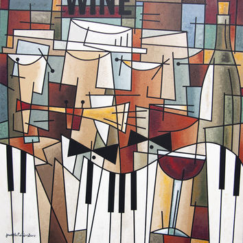 """Music Art Painting - """"Music, Wine and Conversation"""" - 48"""" x 48"""" - SOLD"""