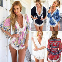 Floral Lace Sexy Long Long Sleeve V Neck Casual Boho Dress Romper Pants b800