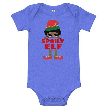 Spoilt Elf Infant with Pacifier Baby Onesuit Bodysuit African American Family Christmas