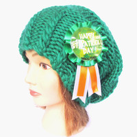 Slouchy beanie hat green slouch hats Irish knit beanies knitted chunky hat women gift for her st patrick's day accessory emerald wool