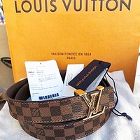 Louis Vuitton LV Girls Boys Belt Leather Smooth Buckle Belt