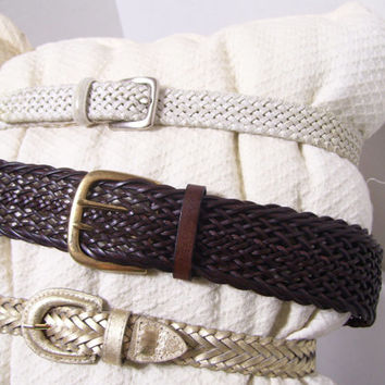 Women's Leather Belts Select Options Talbots White Leather Woven Braided // Brown Leather Woven Braided //Gold Leather Woven Braided