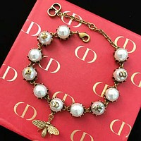 DIOR New fashion metal bee more pearl bracelet women accessories