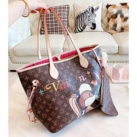 samfine2 LV Louis Vuitton AAA Women Shopping Leather Tote Handbag Shoulder Bag Purse Wallet Set Two-Piece