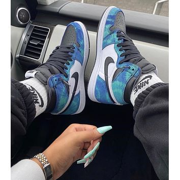 "Air Jordan 1 ""Tie-Dye"" high top sneakers basketball shoes"