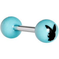 Acrylic Turquoise Playboy Rabbit Head Barbell Tongue Ring | Body Candy Body Jewelry