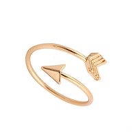 2016 Fashion New Arrival Gold Ring Vintage Jewelry Ring Adjustable Brass Small Arrow Rings for Women wedding Rings