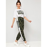 SHEIN Camo & Slogan Print Tee and Contrast Sideseam Sweatpants Set