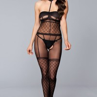 NEW Halter Crotchless Bodystocking - One Size - Black