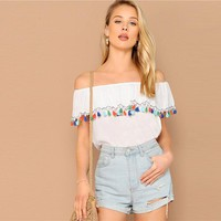 Lady White Ruffle Detail Off the Shoulder Boho Tassel Bardot Top Women Casual Beach Vacation Solid Top Blouses