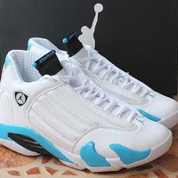 Air Jordan 14 Retro Aj14 White/blue Basketball Shoe | Best Deal Online