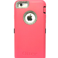 iPhone 6 (4.7 inch) OtterBox Defender Series Case Glitter Cute Sparkly Bling Defender Series Custom Case  pink / silver