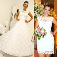 MZ-MSRHS vestido de noiva New Lace Vintage Ball Gown Country Wedding Dresses 2017 RemovableSkirt 2 in 1