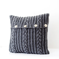 Knitted dark gray  pillow cover - aran design cable knit decorative cushion cover - pillow throw - handmade home decor 16x16