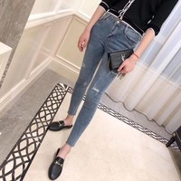 """Balenciaga"" Fashion All-match Jeans Slim-fit Pants Trousers Women Casual Pencil Pants"