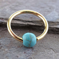 16 Gauge Turquoise Stone CBR Gold Cartilage Hoop Earring Tragus Helix Conch