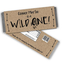 Wild ONE Candy Bar Wrapper - Wild One 1st Birthday Candy Wrappers - Wild One Party Favors - Chocolate Bar Wrapper - Kraft Wild and One