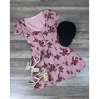 The Only One Floral Princess Seam Button Down Dress - Dusty Pink