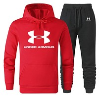 Under Armour Autumn Winter Fashion Women Men Casual Top Sweater Pants Trousers Set Two-Piece Red