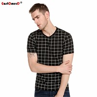2017 New Summer Plaid Print T Shirt Men Short Sleeve O-Neck T-Shirts Slim Fit Tops Tees Casual T-shirt Men Plus Size M-5XL