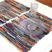 Autumn Sky Placemats Primitive Knitted Trivet Upcycled T Shirts Orange Navy Blue Green Burgundy Log Cabin (set of 2)-US Shipping Included