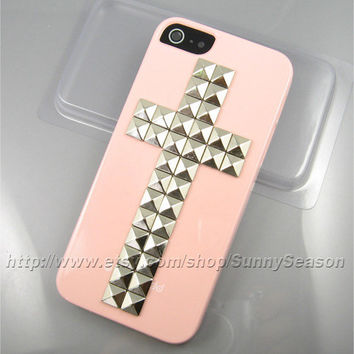 IPhone 5 case,Pink Cross Studded iPhone 5 Case,Silver Pyramid Studs iPhone Case