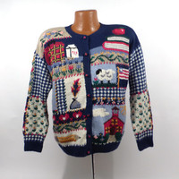 Ugly Christmas Sweater Vintage Cardigan School Fall Holiday Tacky Party Women's size L