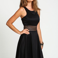 BLACK SHADOW STRIPES SKATER DRESS