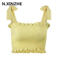 Ruffle strap tank top tees women crop top Casual fitness dot tube top camisoles Boho print beach summer tops female cami B356