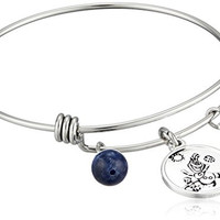 "Disney Stainless Steel Catch Bangle with Silver Plated Olaf ""Some People are Worth Melting For"", and Sodalite Bead Charm Bangle Bracelet"