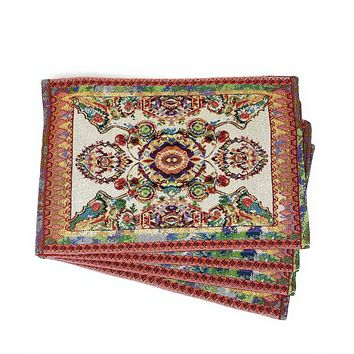 Tache Elegant Ivory Colorful Ornate Paisley Woven Tapestry Placemat Set of 4 (18193)