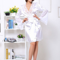White Floral Lace Bell Sleeve Satin Robe