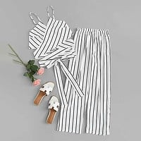 Striped Knot Hem Cami Top With Pants Set Two Piece