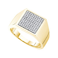Diamond Micro Pave Mens Ring in 10k Gold 0.35 ctw