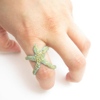 Star Fish Ring, Hand painted Turquoise & Gold Starfish, StarFish Jewelry