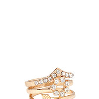FOREVER 21 Arrow Midi Ring Set Gold/Clear 4