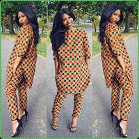 Plus Size 3/4 Sleeves Side Slit Long Loose Tops and Pants Set