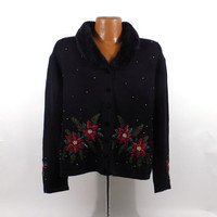 Ugly Christmas Sweater Vintage Cardigan Poinsettias Holiday Tacky Women's size XL