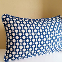 Lumbar Pillow Cover Betwixt Indigo Blue - Available with or without Self welt cording
